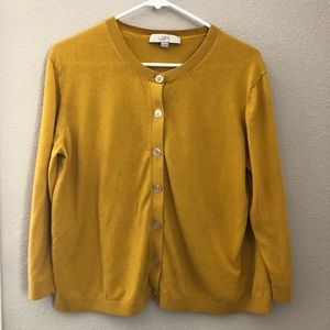 LOFT Mustard Yellow Cardigan Sweater Buttons